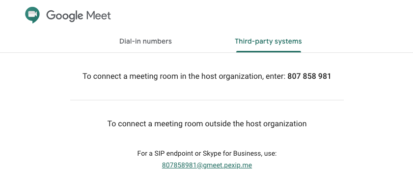 The unique meeting SIP address is listed under Third-party systems